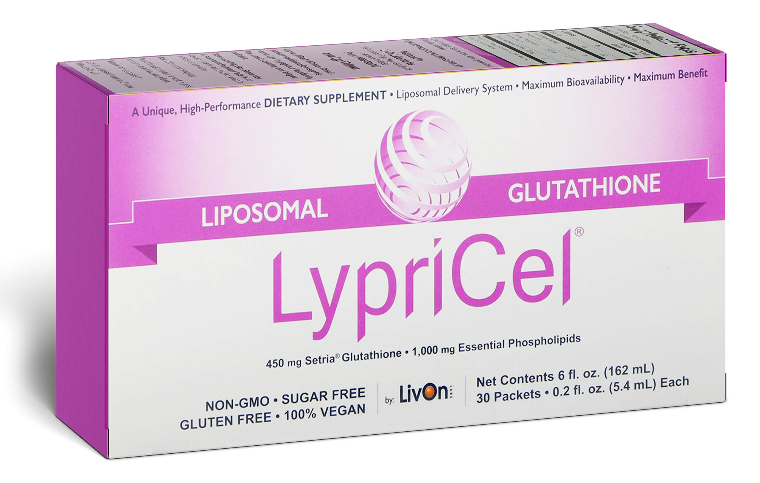 LypriCel Liposomal Glutathione - 30 Packets - 450 mg Glutathione Per Packet - Liposome Encapsulated for Maximum Bioavailability - 100% Non-GMO by Lypricel
