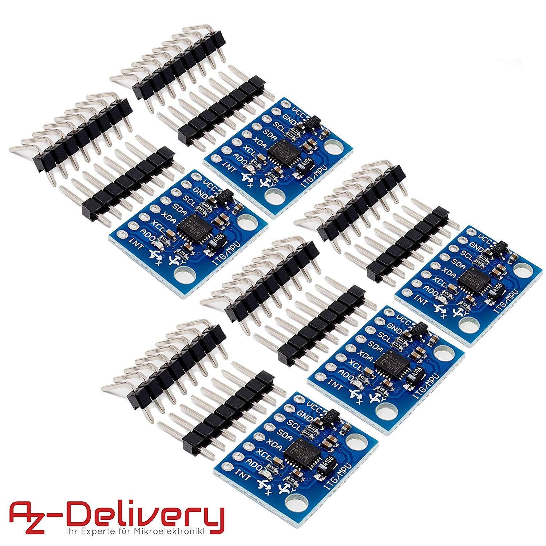 AZDelivery 5 x GY-521 MPU-6050 giroscopio de 3 Ejes y un acelerómetro para Arduino con ebook Gratis!: Amazon.es: Electrónica