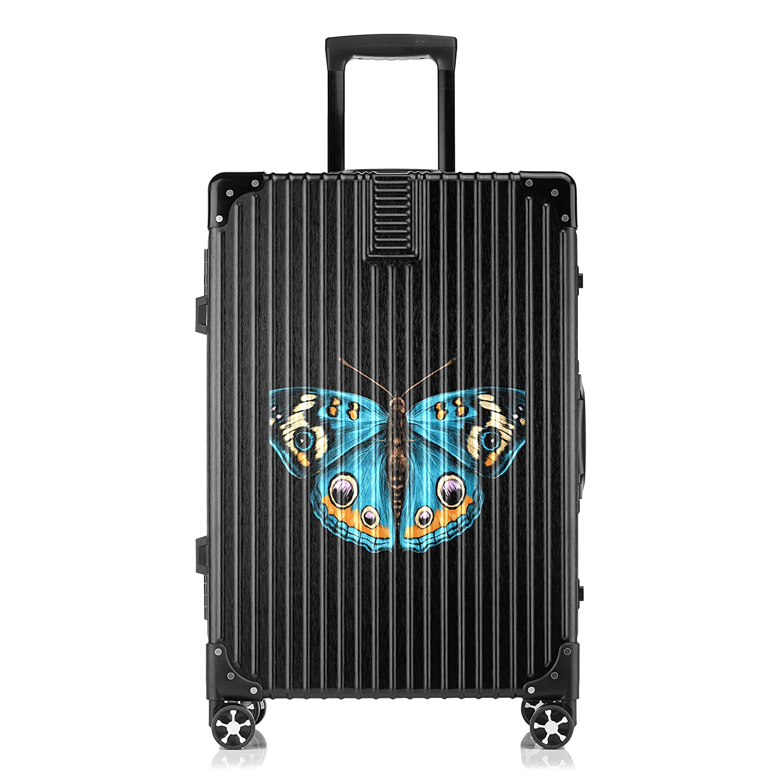 GSHCJ スーツケース 美しい蝶 キャリーケース 20インチ おしゃれ ブラック Tsaロック搭載 プリント ハード 超軽量 軽い 機内持込 ロックファスナー 旅行 ビジネス 出張 海外 修学旅行 丈夫 便利 レディース メンズ 学生 B07S19PRQ5