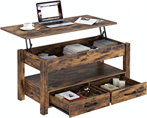 Rolanstar Coffee Table, Lift Top Coffee Table with Drawers and Hidden Compartment, Retro Central Table with Wooden Lift Tabletop, for Living Room, Rustic Brown