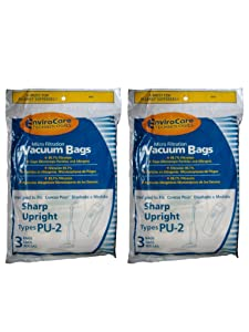 EnviroCare Replacement Micro Filtration Vacuum Bags for Sharp PU-2 Uprights 6 Pack