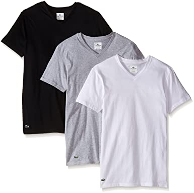 lacoste men s 3 pack essentials cotton v neck t shirt at amazon