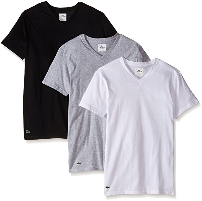 Lacoste Men's 3-Pack Essentials Cotton V-Neck T-Shirt at Amazon ...