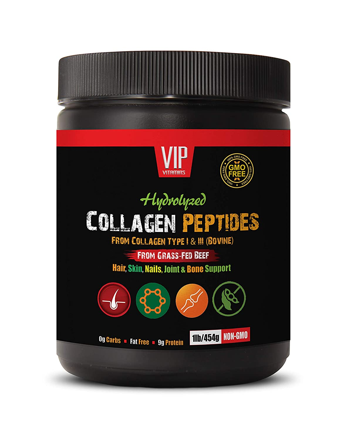 Hair Skin and Nails Vitamins Collagen - Collagen PEPTIDES HYDROLYZED - Hair, Skin, Nail, Joint and Bone Support - Collagen Supplements for Skin Elasticity - 1 Bottle 1 LB (454 Grams)