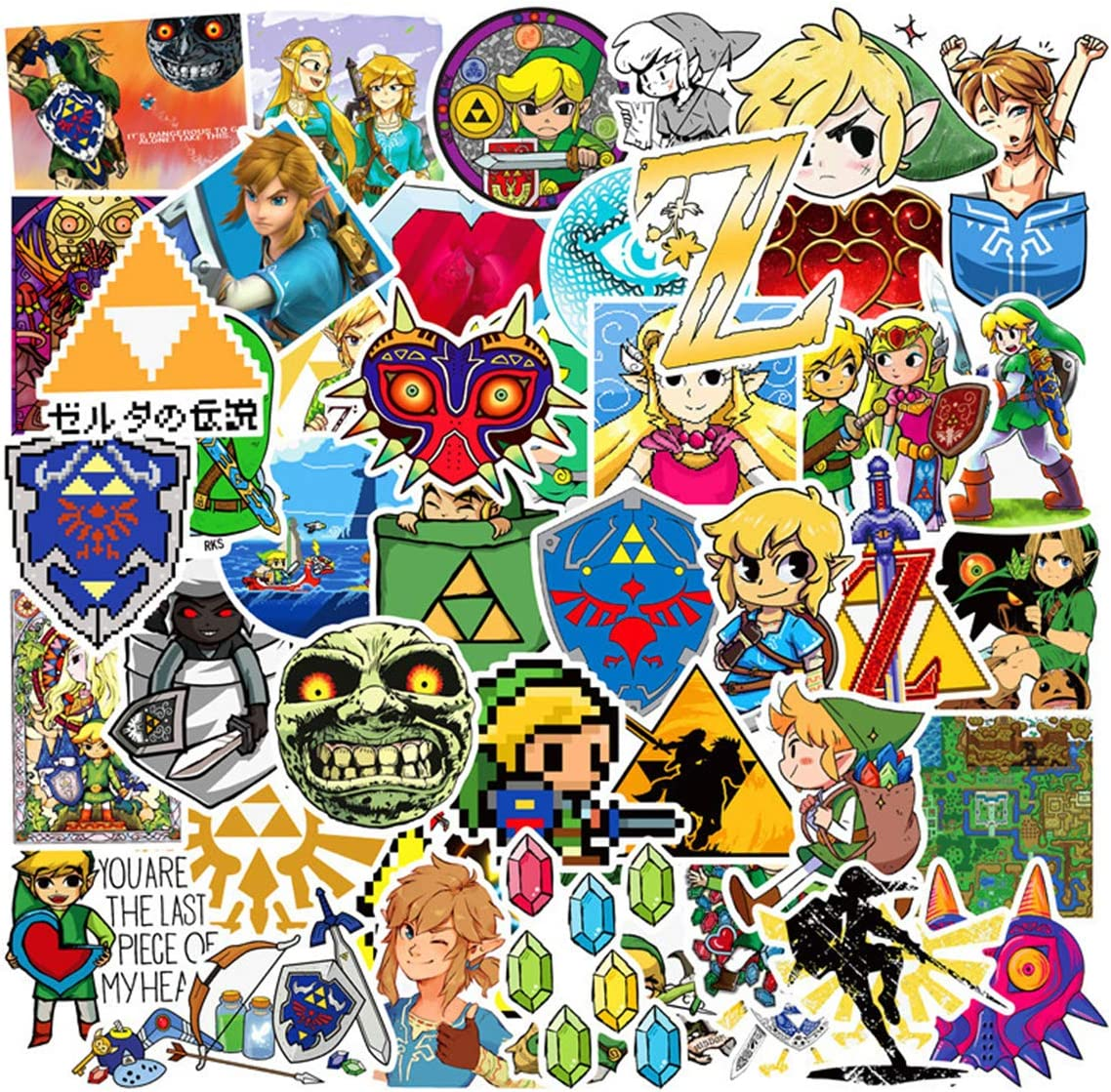 Cool and Popular Game Stickers(47PCS) The Legend of Zelda Stickers for Water Bottle Snowboard Laptop Luggage Car Motorcycle Bicycle Fridge DIY Styling Vinyl Home Waterproof Stickers (Zelda)