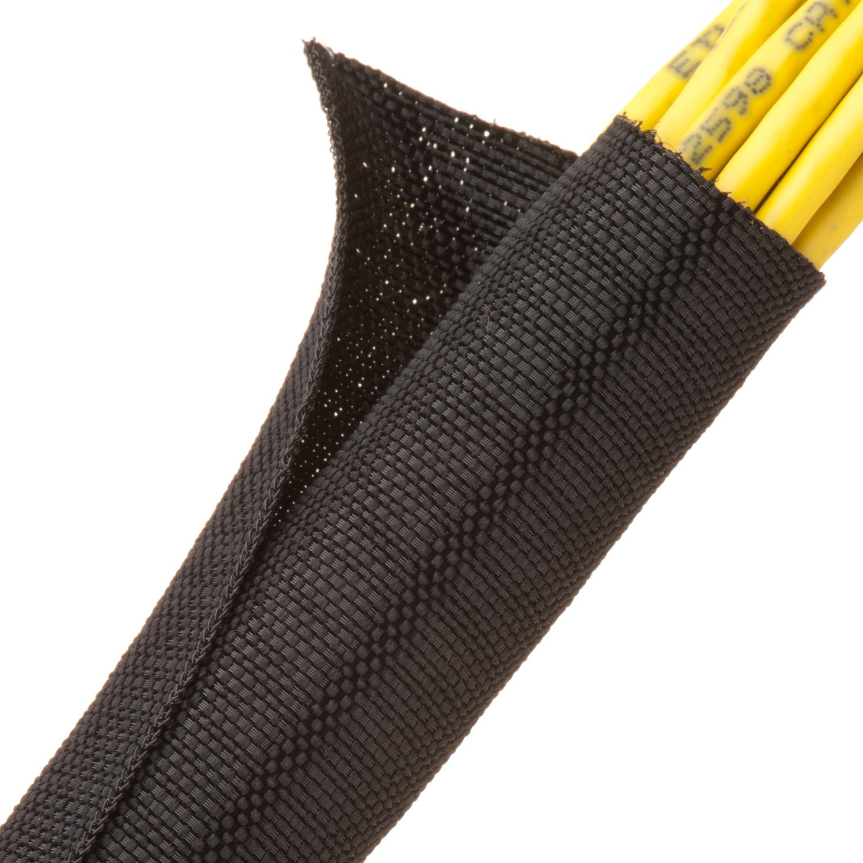 F6 Woven Split Tubular Harness Wrap - 1'' - Black 10 ft piece