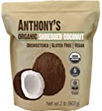 Anthony's Organic Shredded Coconut, 2 lb, Unsweetened, Gluten Free, Non GMO, Vegan, Keto Friendly