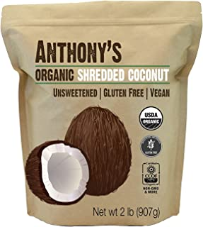 product image for Anthony's Organic Shredded Coconut, 2 lb, Unsweetened, Gluten Free, Non GMO, Vegan, Keto Friendly