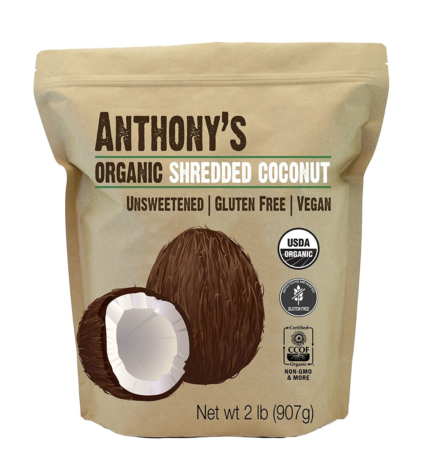 Anthony's Organic Shredded Coconut, 2lb, Unsweetened, Gluten Free, Non GMO, Vegan, Keto Friendly by Anthony's