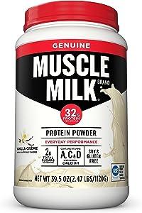Muscle Milk Genuine Protein Powder, Vanilla Crème, 32g Protein, 2.47 Pound