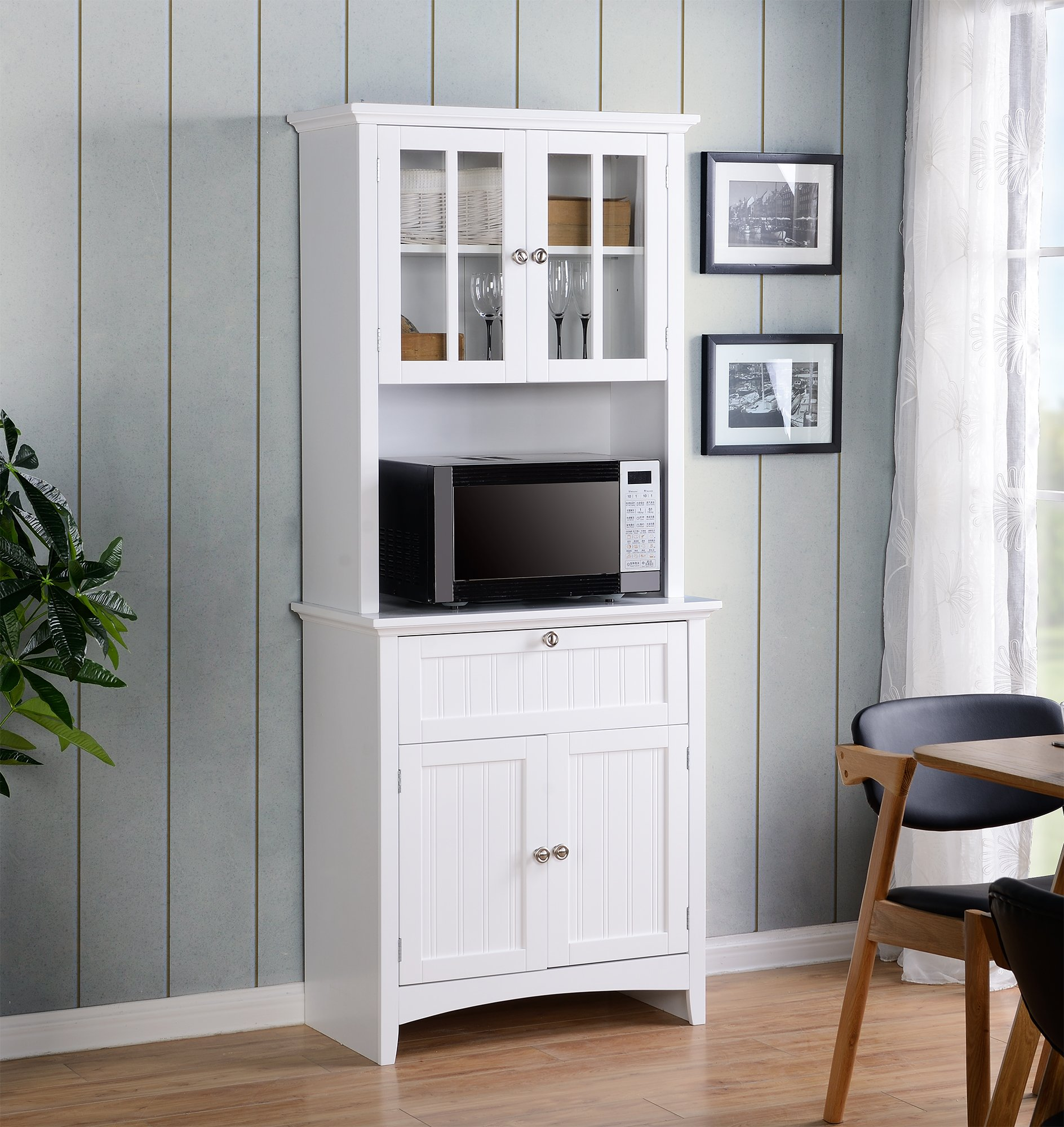 American Furniture Classics OS Home and Office Buffet and Hutch with Framed Glass Doors and Drawer, Large, White by American Furniture Classics