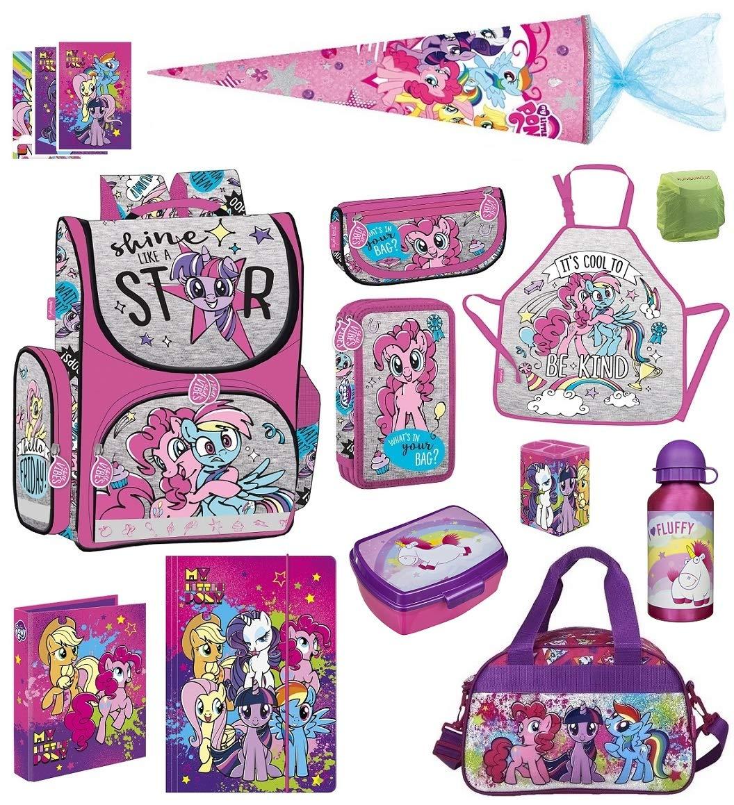 Familando My Little Pony Schulranzen-Set 13 TLG. mit Schultüte 70cm, Sporttasche, Regenschutz und Federmappe Einhorn Regenbogen