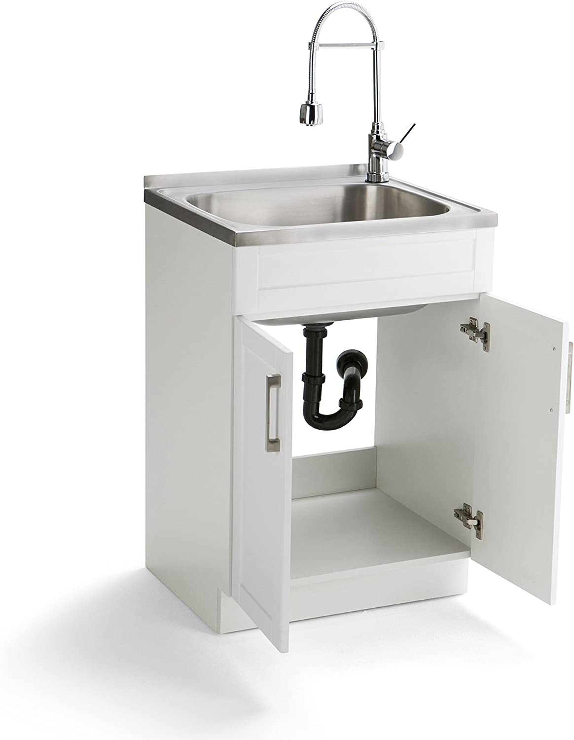 Simpli Home AXCLDYSS-24 Hennessy Contemporary 24 inch Laundry Cabinet with Faucet and Stainless Steel Sink Ltd.