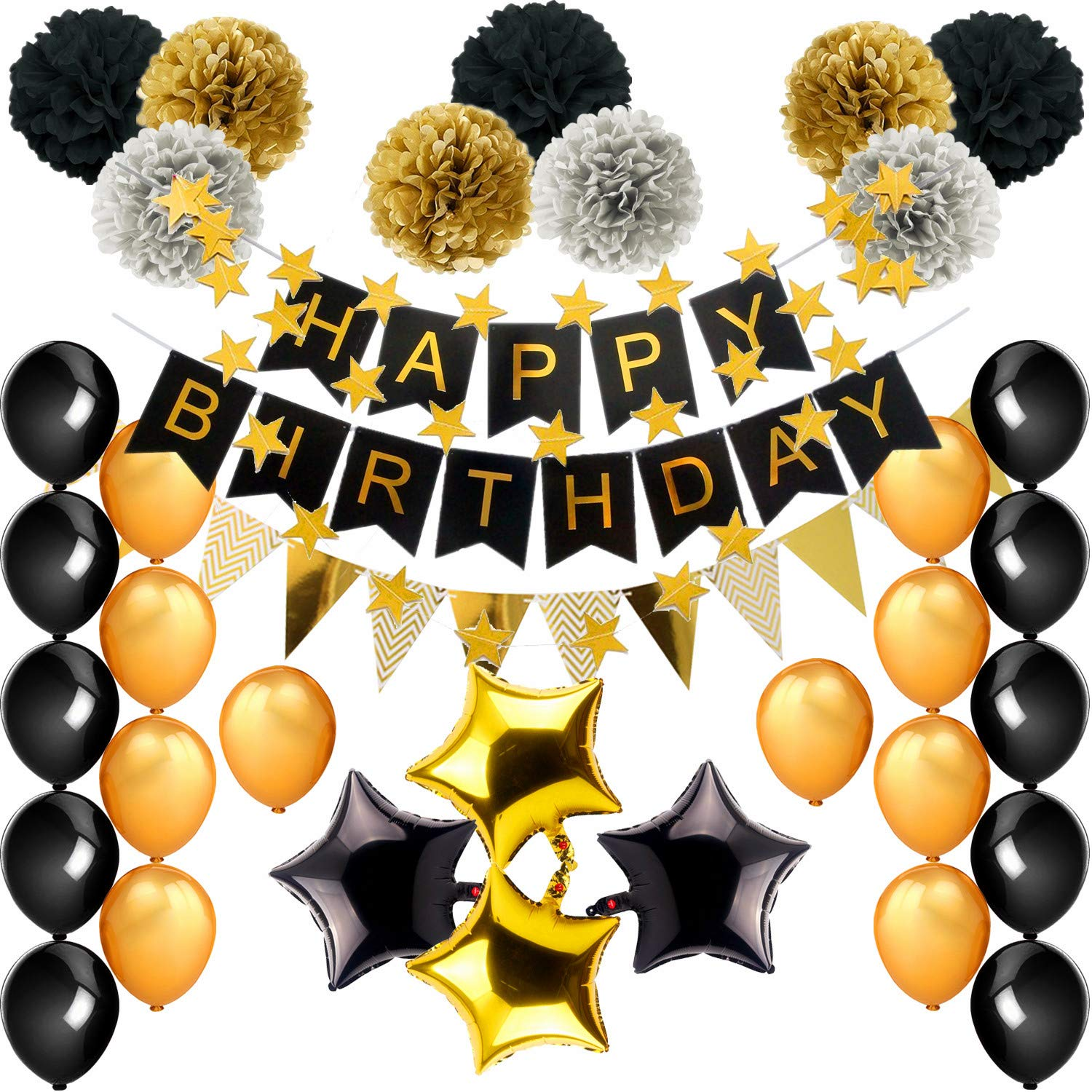 Birthday Decorations, Black and Gold Theme Birthday Party Supplies(99pcs) Happy Birthday Banner Balloons Tissue Paper Pom Poms18th 20th 30th 40th 50th 60th 70th Birthday Decorations 079