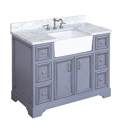 Zelda 42-inch Bathroom Vanity (Carrara/Powder Gray ...
