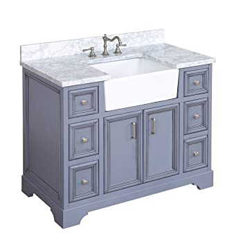 Zelda 42 Inch Bathroom Vanity Carrarapowder Gray Includes A