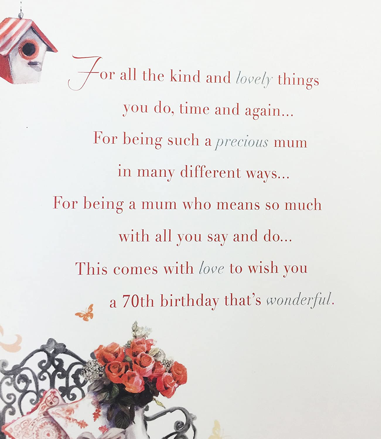 Mums 70th Birthday Card Greeting Card For Mum Amazon