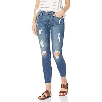 7 For All Mankind Women's Ankle Gwenevere Skinny Mid Rise Jeans, Everly Light Sky Destroy, 28: Clothing