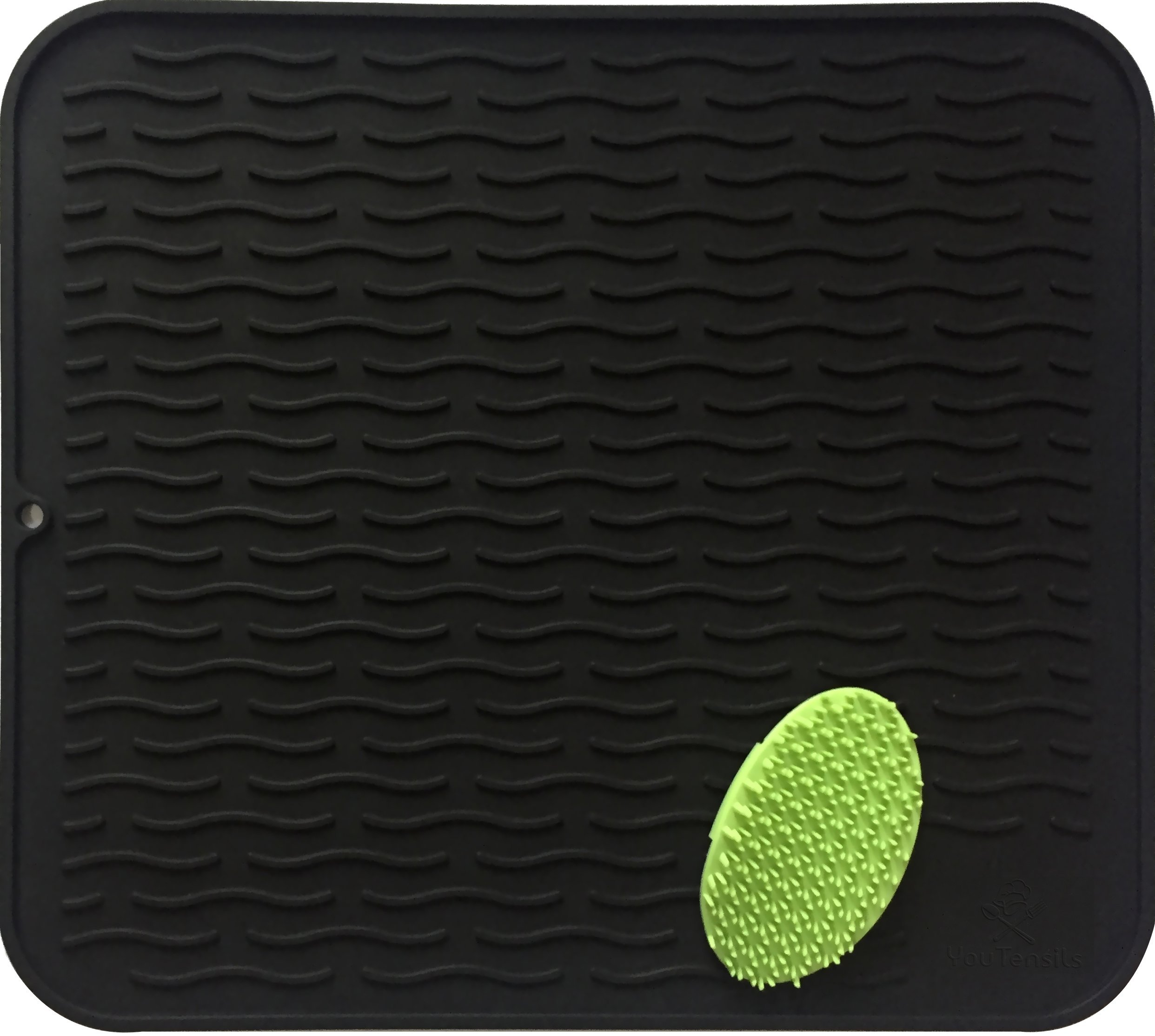 Silicone Dish Drying Mat & Small Scrubber | Kitchen Dish Drainer Mat & Large Trivet | Food Safe Fast Draining Pad for Counter-top | 17.8'' x 15.8'' (XL, Black)