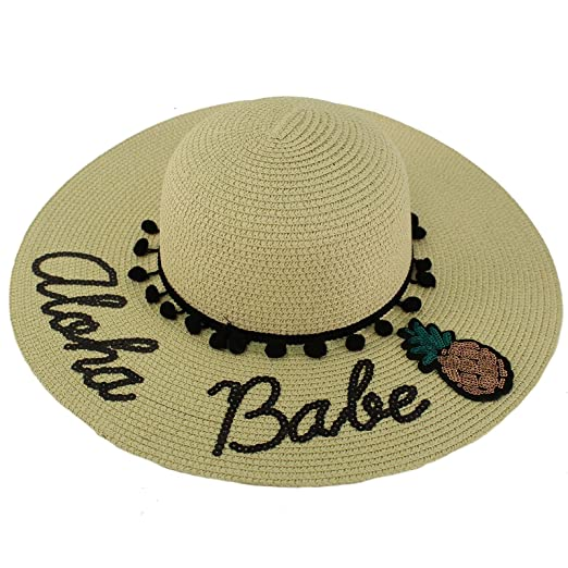 3bc29427431 Fun Embroidery Wide Brim 4 quot  Summer Derby Beach Pool Floppy Dress Sun  Hat Aloha Babe