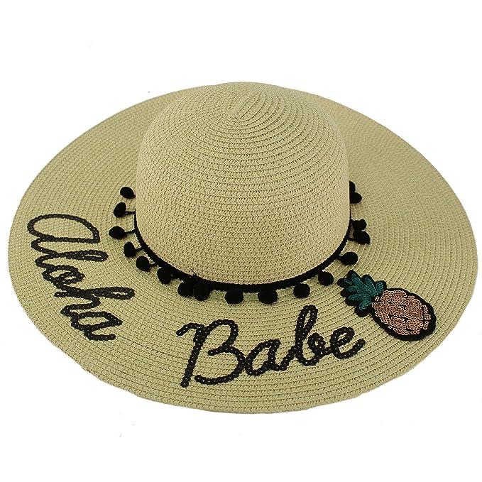 "797293fd Fun Embroidery Wide Brim 4"" Summer Derby Beach Pool Floppy Dress Sun  Hat Aloha Babe"