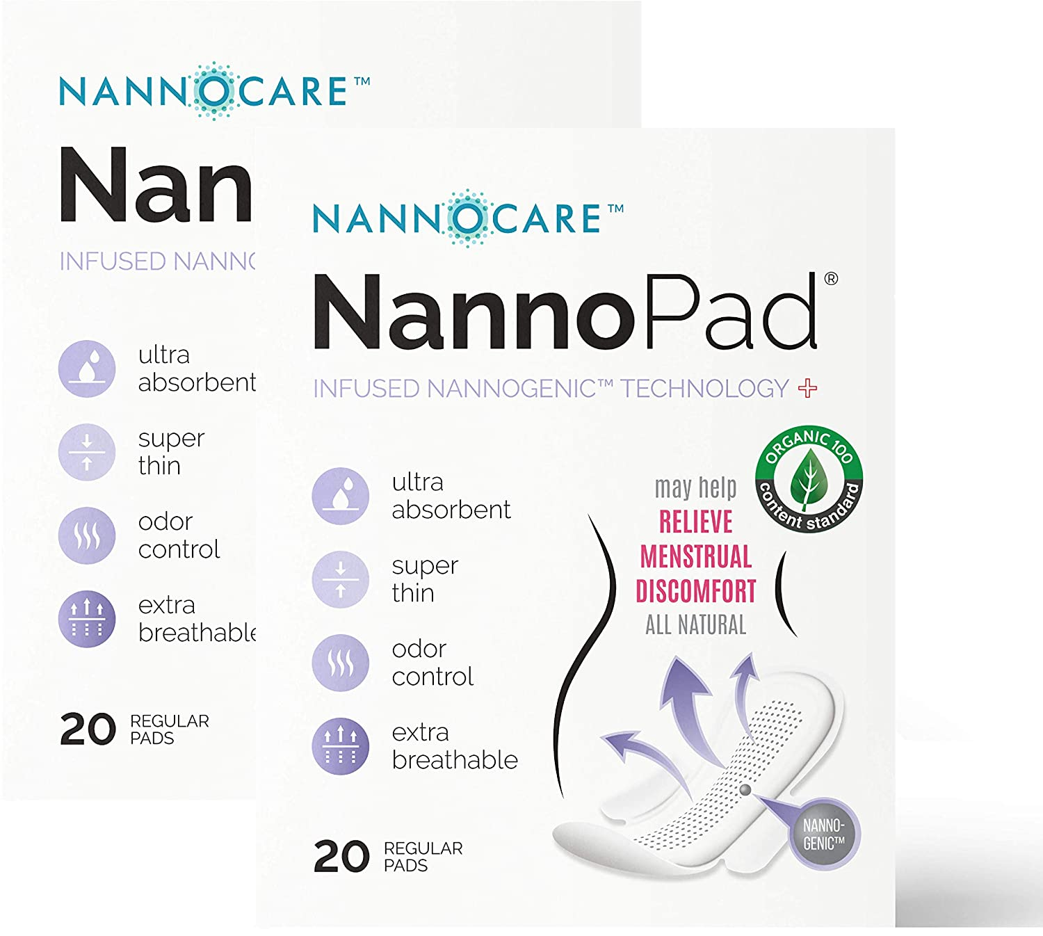 Amazon.com: NannoPad Regular 20 Count Organic Cotton Unscented Feminine Day Pads for Women Period - Regular Flow Absorbency Ultra Thin Breathable Length ...