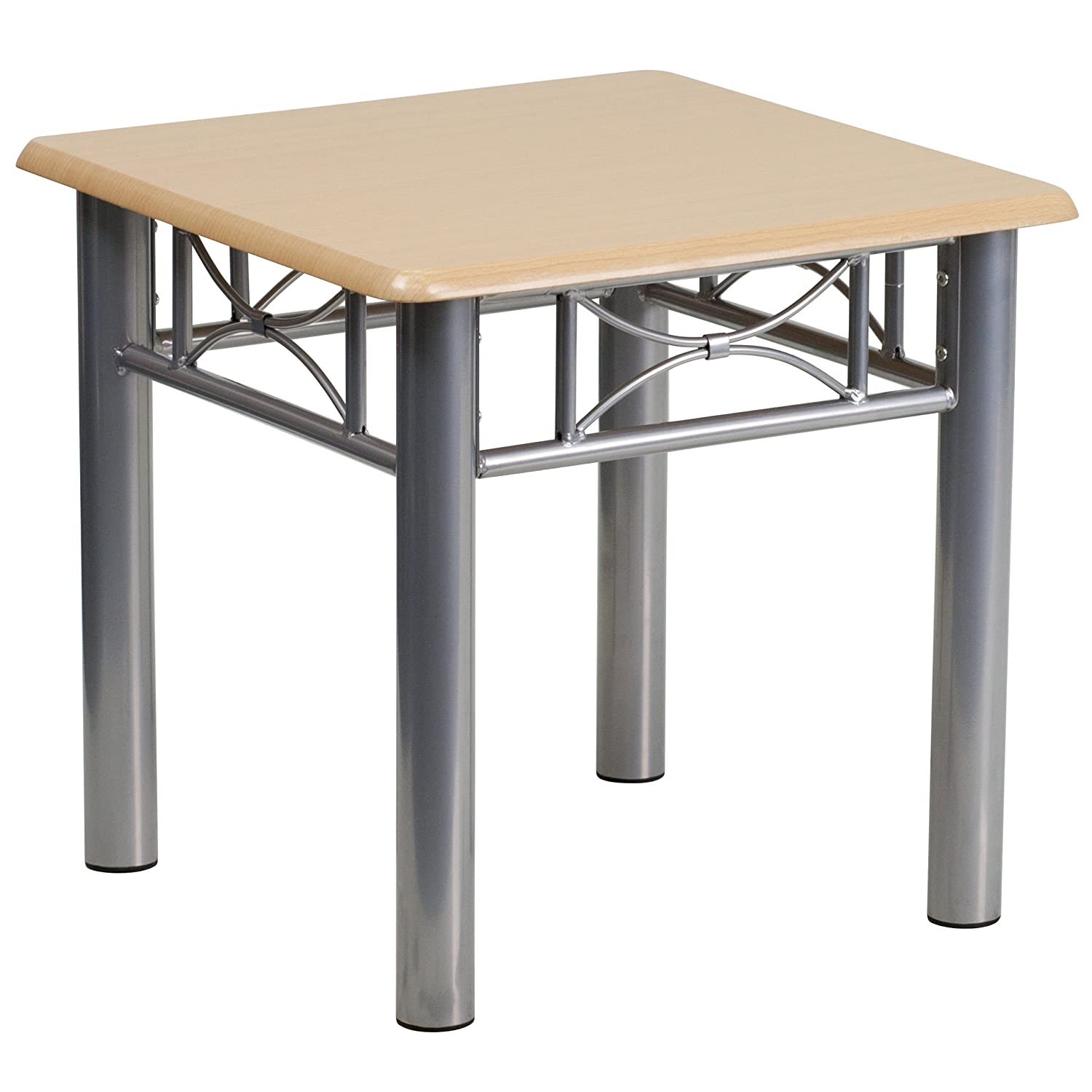 Amazon com flash furniture natural laminate end table with silver steel frame kitchen dining
