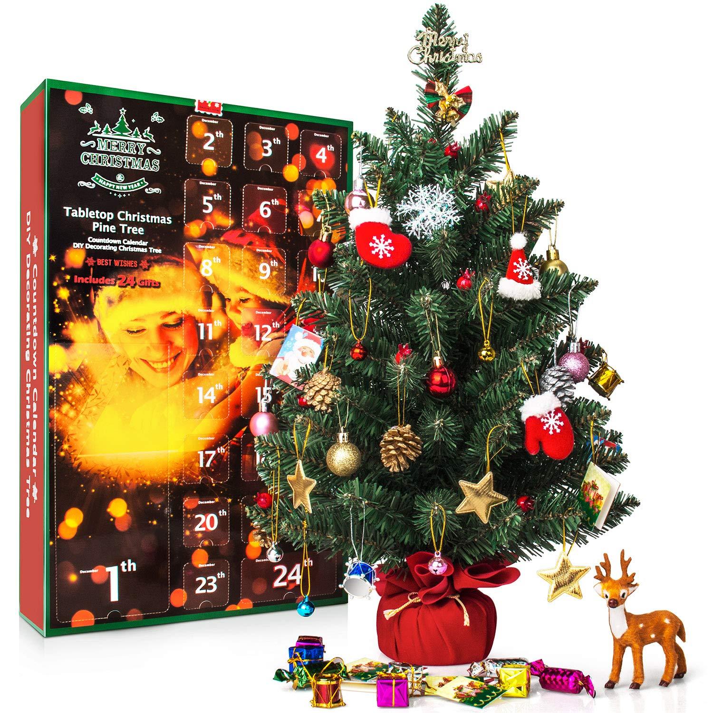 SWEET DIARY Christmas Advent Calendar 2018 Tabletop Christmas Tree Countdown Calendar 24 Days, 23.6 Pine Tree Kids Boys Girl Xmas Gifts DIY Christmas Ornaments 23 Toy Home Office Desk Decorations