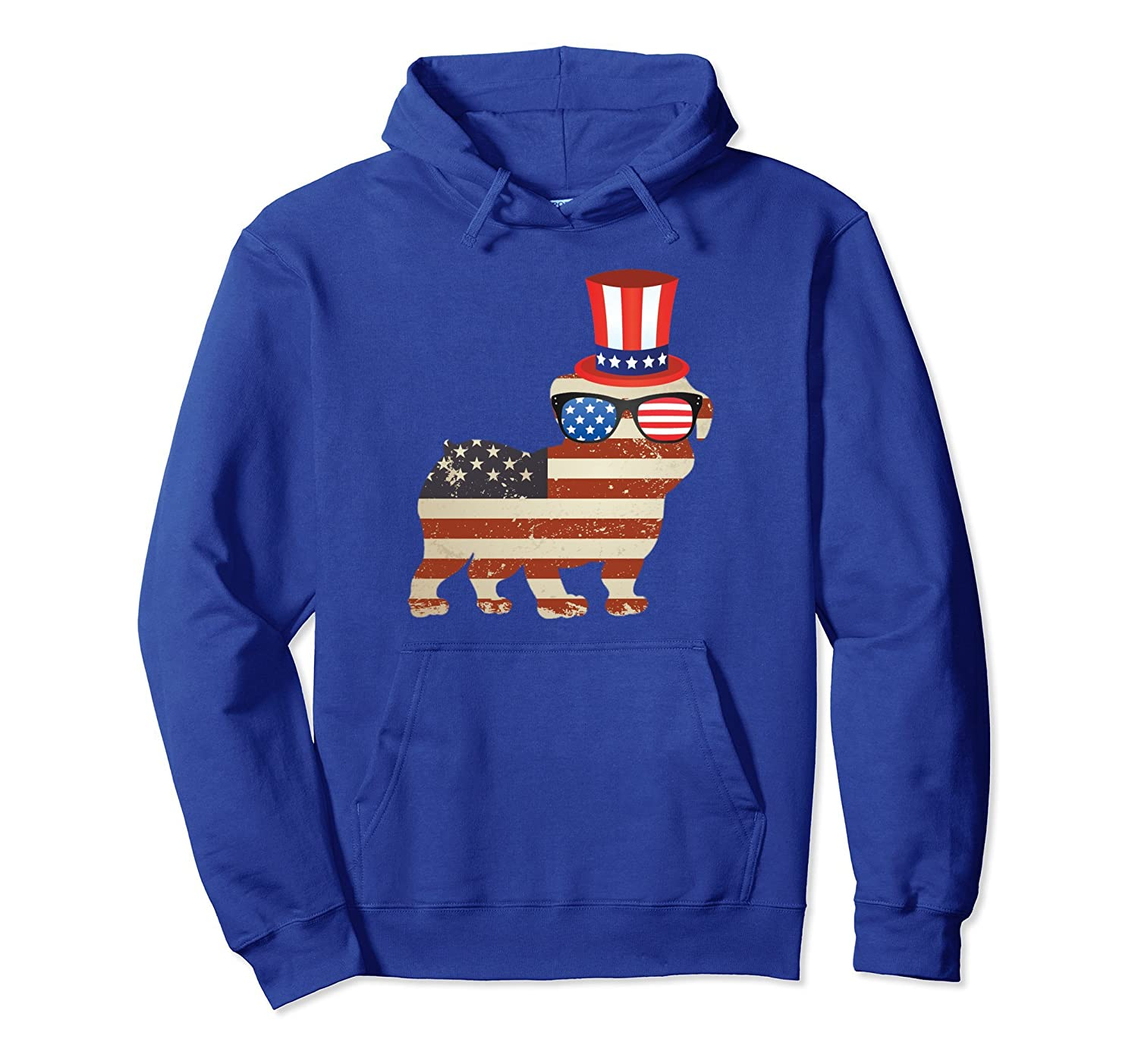4th of July Distressed American Flag Bulldog Hoodie-AZP