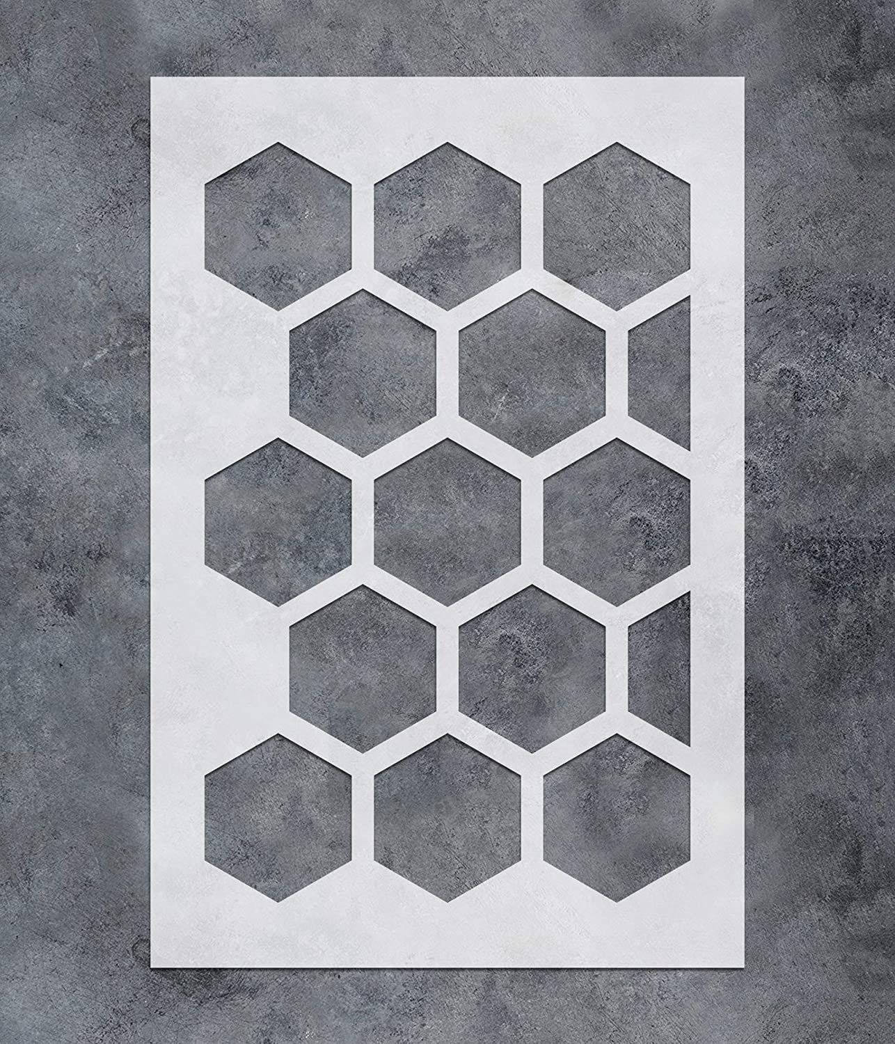 GSS Designs Large Hexagon Wall Stencil (16x24Inch) - Geometric Pattern Stencils for Painting on Wood Wall Furniture - Reusable Herringbone Stencil Template for Wall Decor (SL-107)