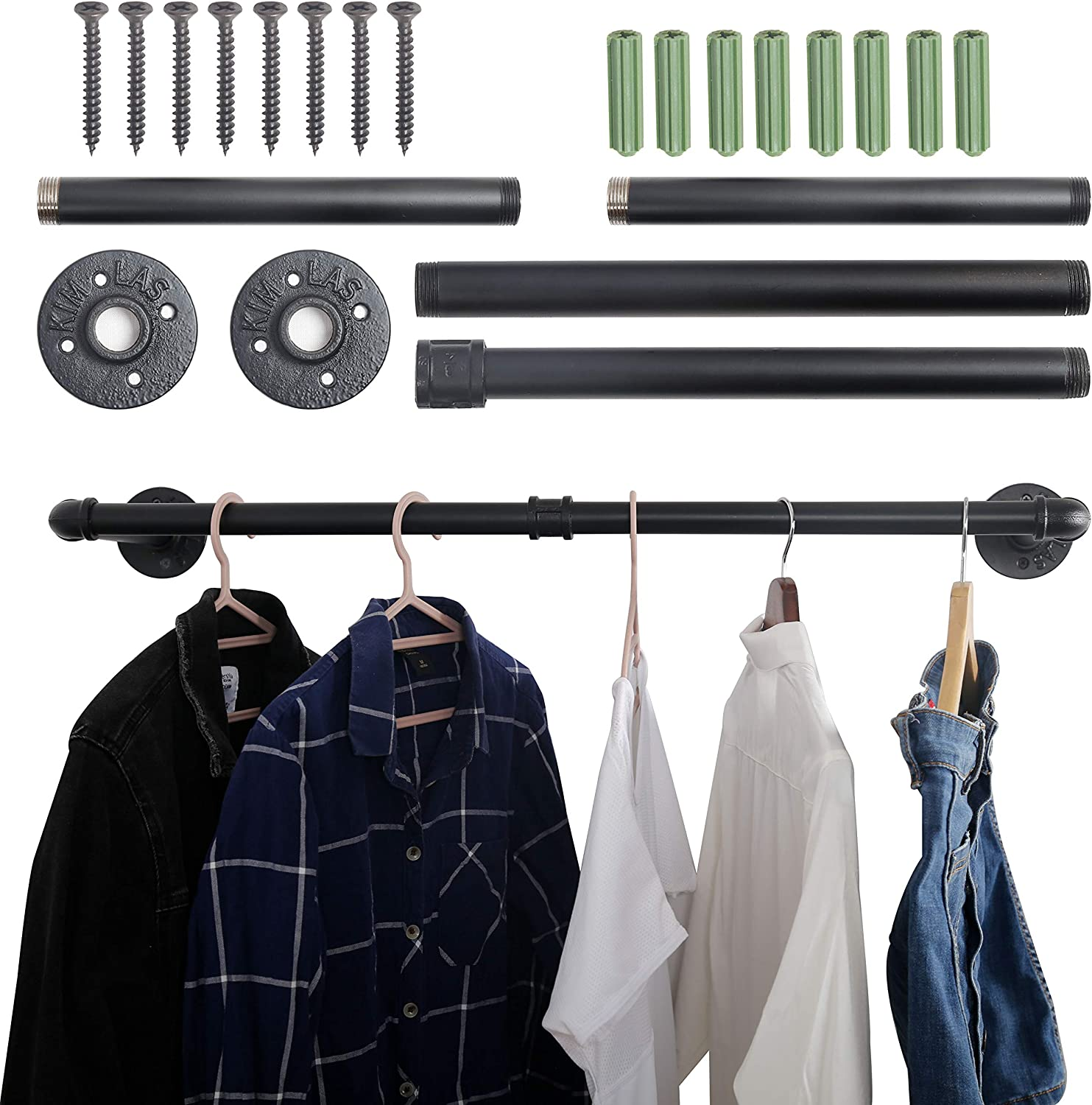 WEBI Clothing Rack Wall Mount,32'' Industrial Pipe Clothes Rack for Hanging Clothes,Heavy Duty Iron Garment Rack Bar,Retail Display Clothes Rod for Closet,Laundry Room,Black