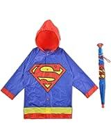 DC Comics Little Boys Batman or Superman Slicker and Umbrella Rainwear Set, Age 2-7