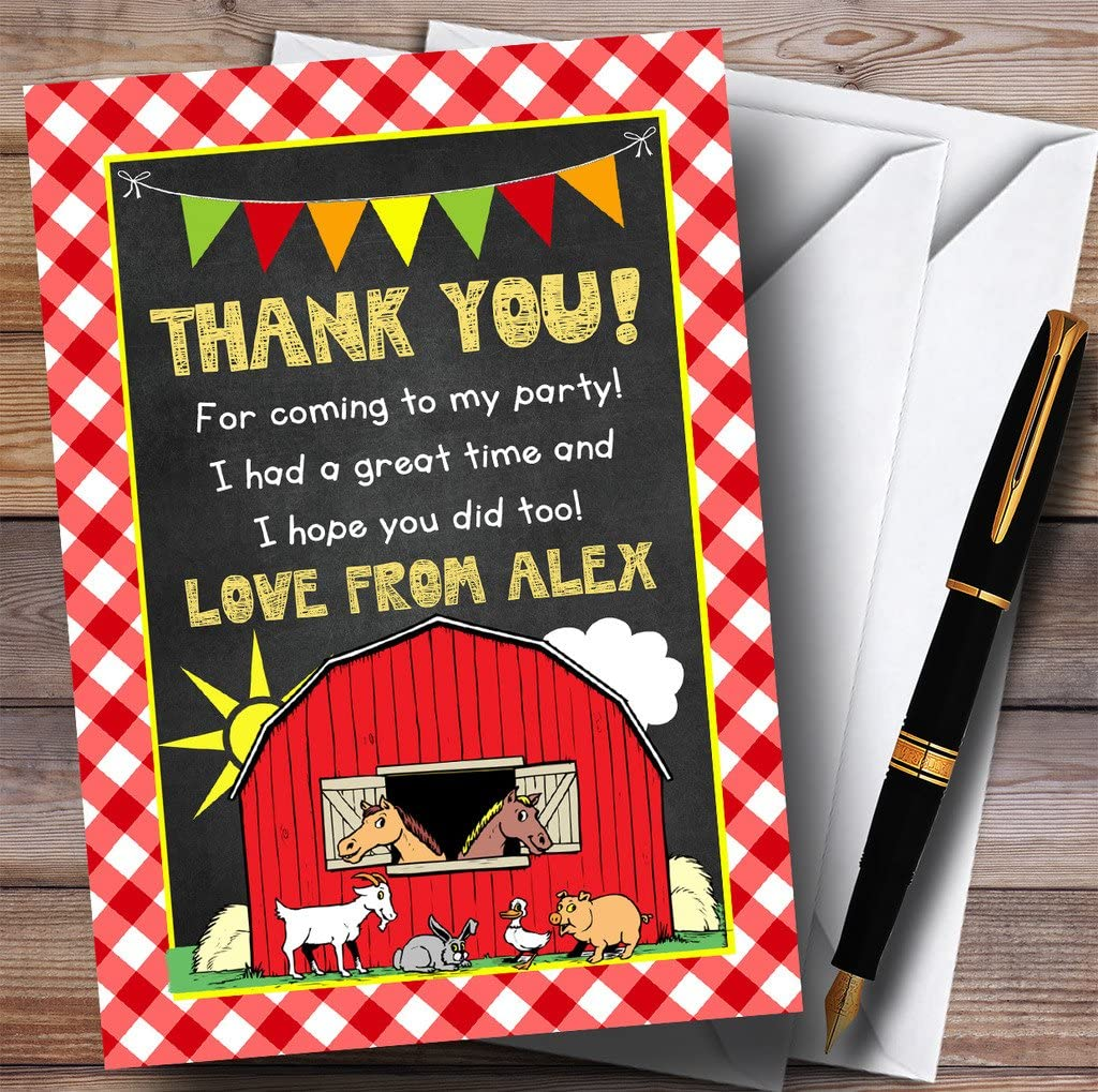Country Barnyard Farm Animals Chalk Party Thank You Cards