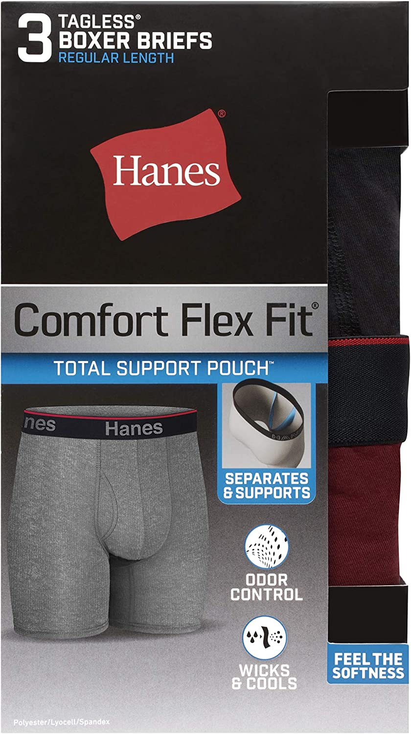 Hanes Men's Comfort Flex Fit Total Support Pouch 3-Pack, Available in Regular and Long Leg at  Men's Clothing store
