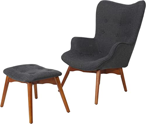 Christopher Knight Home Hariata Fabric Contour Chair Set, Muted Dark Gray