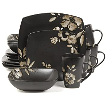 Gibson Elite Lanark 16-Piece Square Dinnerware Set Black  sc 1 st  Amazon.com & Amazon.com: Gibson Elite Lanark 16-Piece Square Dinnerware Set ...