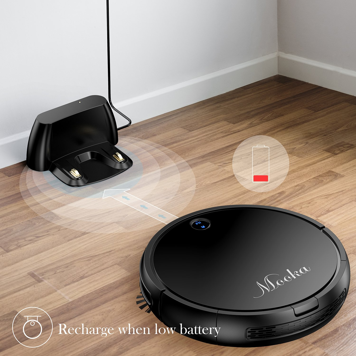 MOOKA Robotic Vacuum Cleaner, Tangle-free Suction for Pet Hair, Anti-bump and Drop-sensing Technology