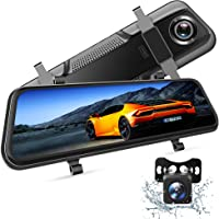 NikoMaku Mirror Dash Cam Front and Rear Backup Camera 10 Inch Screen for Cars Full Touch Screen Rear View Mirror Camera 170/° Wide Angle Dual Lenses Waterproof AS-4