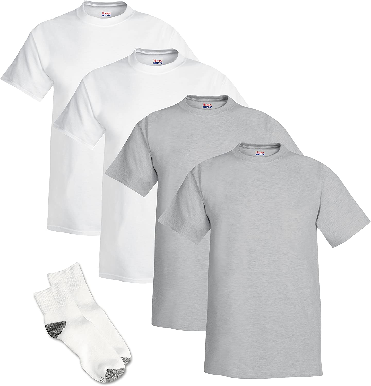 Hanes Men's Beefy-T Short Sleeve T-Shirt (Pack of 4) 2 White / 2 Light Steel