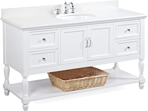 Beverly 60-inch Single Sink Bathroom Vanity Quartz White Includes a White Cabinet with Soft Close Drawers, White Quartz Countertop, and White Ceramic Sink