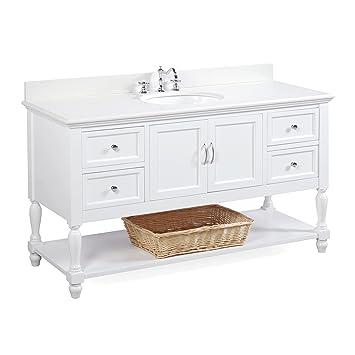 beverly 60inch single sink bathroom vanity quartzwhite includes a