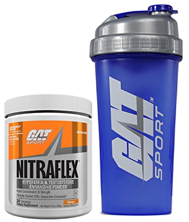 GAT Clinically Tested Nitraflex, Testosterone Enhancing Pre Workout 300 g 30 servings with BONUS GAT Shaker Bottle Orange