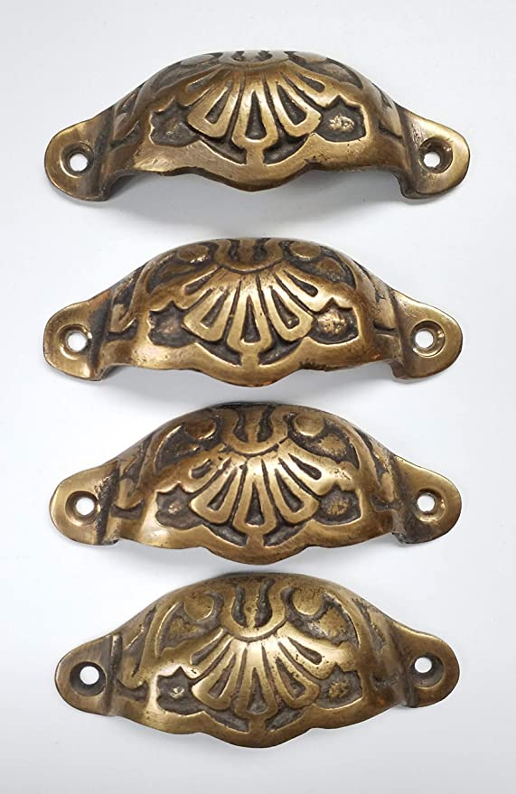 """6 Antique Vintage Style Brass Victorian Apothecary Bin Pull Handles 4 9//16/""""w.#A6"""