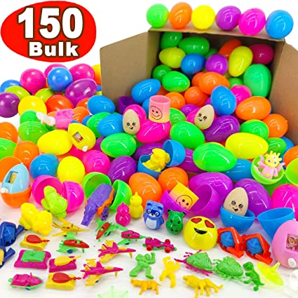 PartySticks Easter Basket Supplies 100 Pc Easter Basket Stuffers for Kids w// Fillable Plastic Easter Eggs Easter Egg Hunt Toys and Easter Egg Fillers for Kids