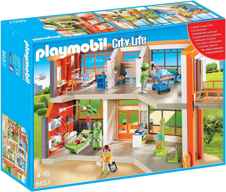 Amazon.com: Kit de juego de hospital infantil PLAYMOBIL ...