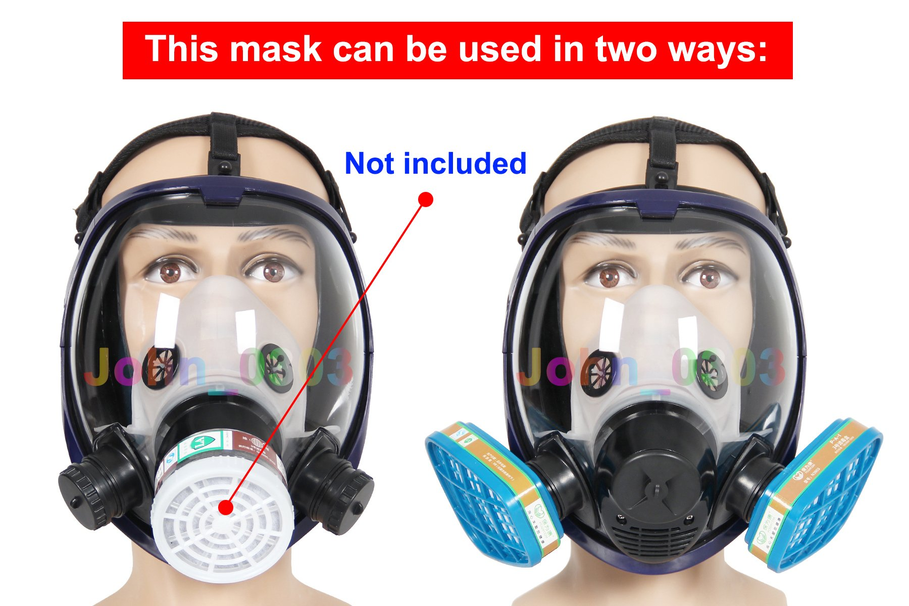 Complete Suit Trudsafe 6800 Painting Spraying Full Face Gas Chemical Mask Respirator, Dust Mask, 2 Kinds of Connectors, Good Tightness, Filters Included by Trudsafe (Image #7)