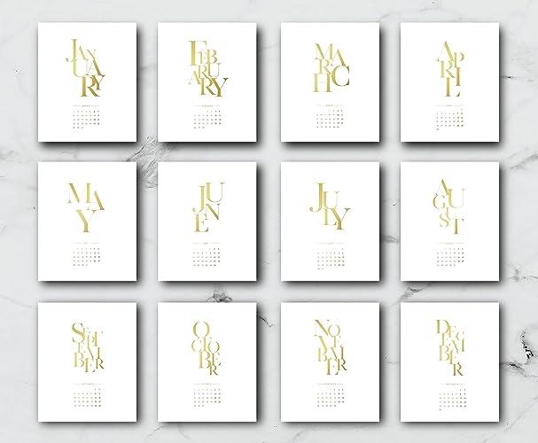 2018 desktop typography calendar christmas gift 2018 calendar real gold foil modern