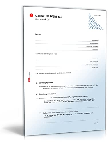 Schenkungsvertrag Auto Pdf Download Download Amazonde Software