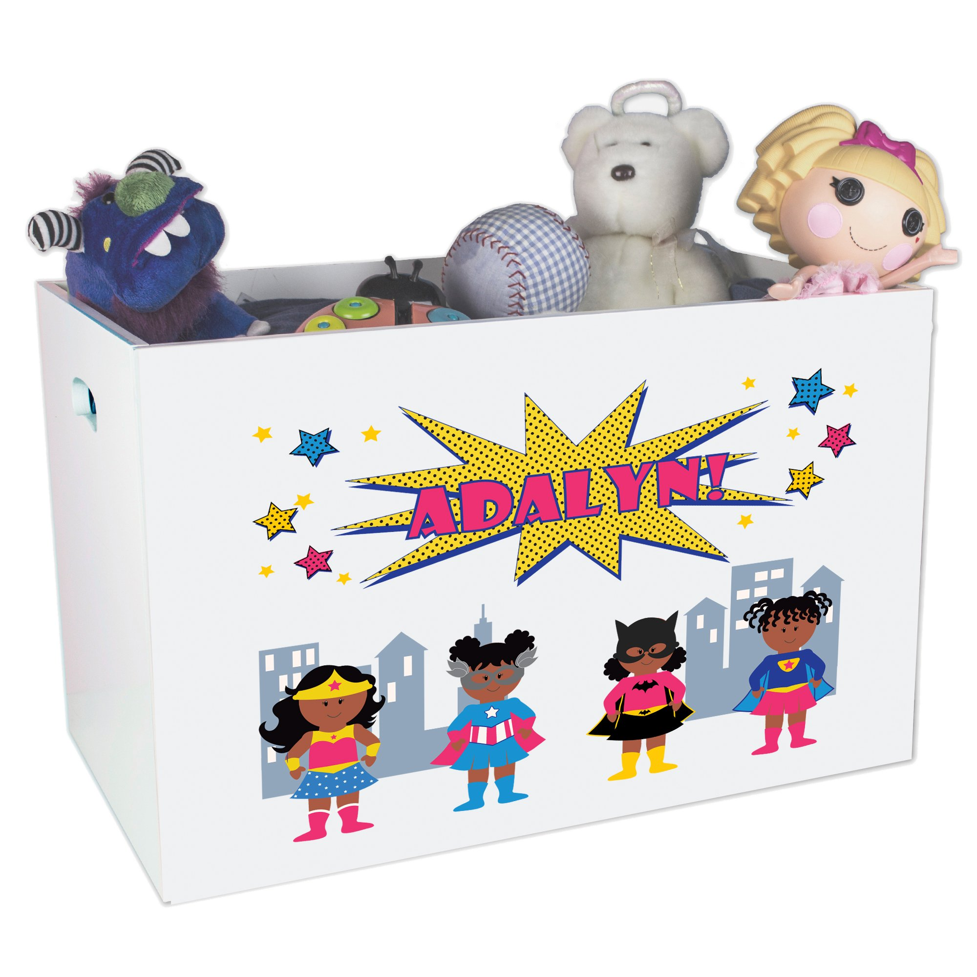 Childrens Personalized Open Toy Chest For Nursery Girls Superhero African American
