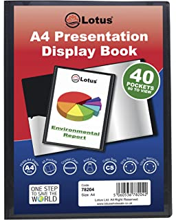 Projects 6 Books 78204 A4 Display Book Colleges 40 Pockets Black Presentation A4 Display Book Folder Folio for Professionals Students Home by Lotus Business School